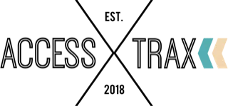 Access Trax Logo. Text: Access X Trax with two small arrows on the right side of the last X.