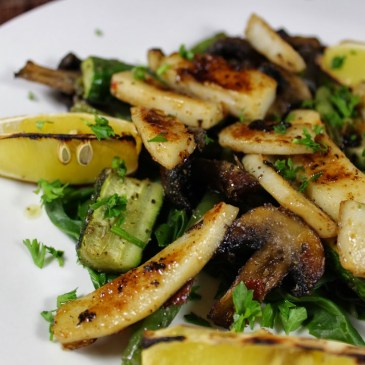 Honey-Soy Calamari with Oven-Grilled Green Veg and Honey-Charred Lemon Wedges