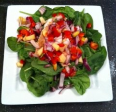Grilled Salmon with Apple Red Pepper Salsa and Spinach