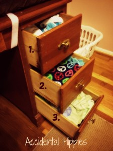 Cloth Diaper Changing Station in a Desk! 1. Covers and doublers 2. Fleece Liners 3. Changing Pad Covers --- Diapers are kept above the table. Super simple!
