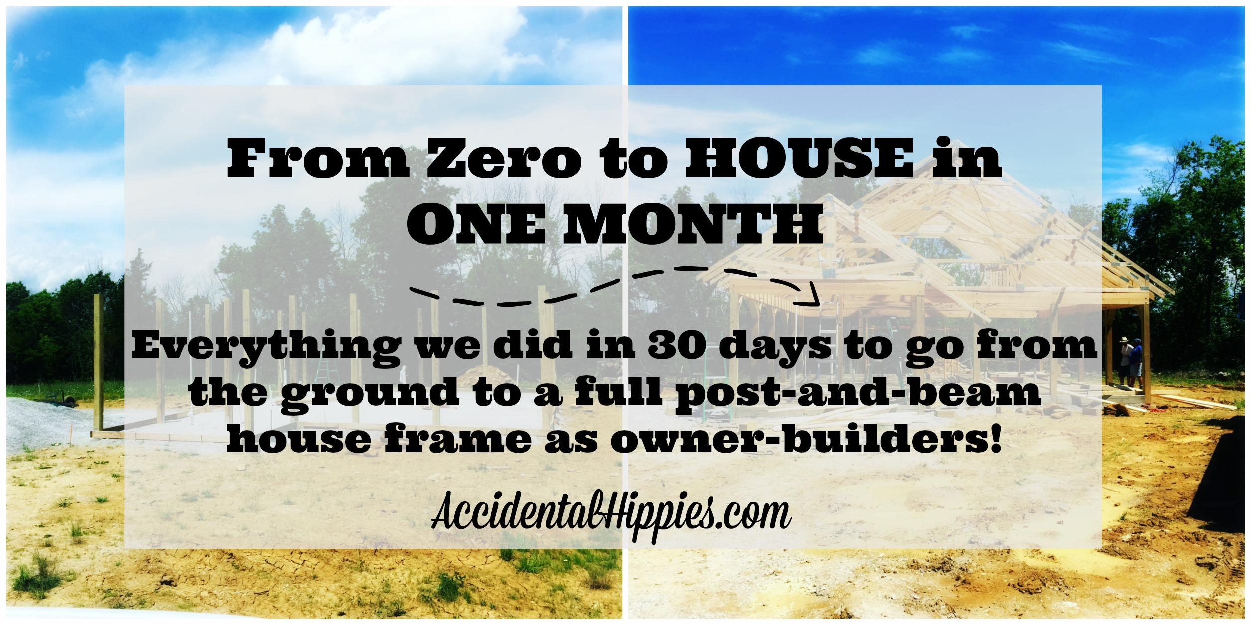 Check out this overview of how one aspiring homestead family built up a full post-and-beam house frame in one month! #diy #house #homestead