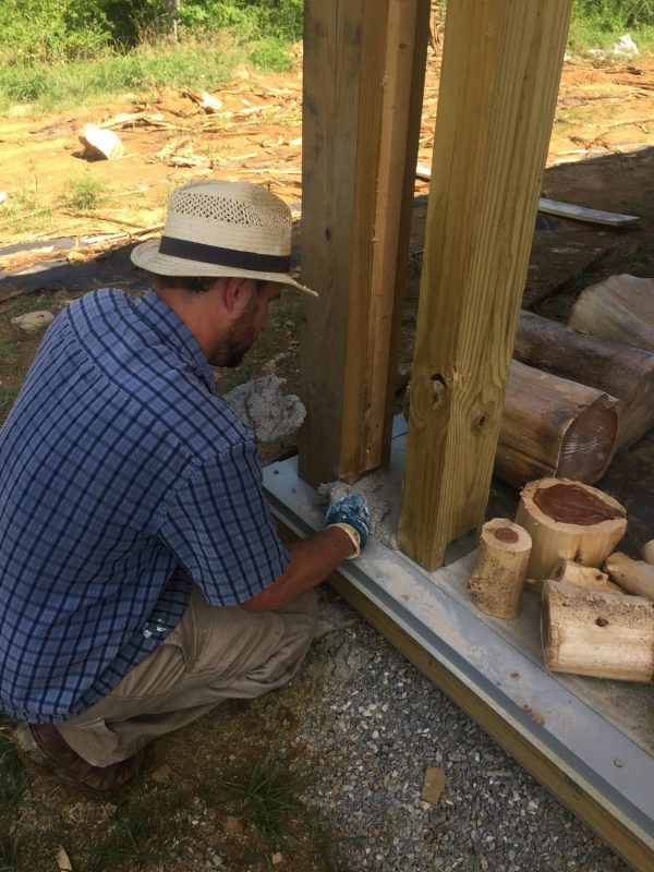 """This """"fake"""" post will be filled with cordwood masonry to bookend bigger cordwood walls."""