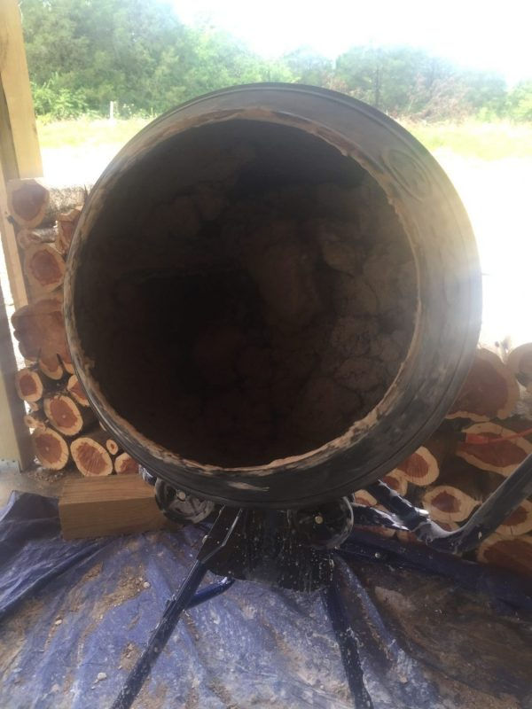 A concrete mixer isn't necessary to make the mortar for building with cordwood, but it sure was worth the money!