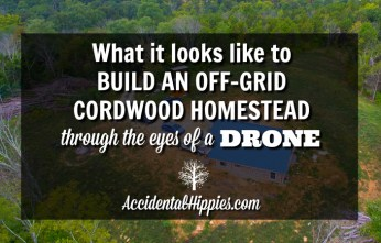 Check out what it looks like to build on an off grid property through the eyes of a drone! #homestead #offgrid #cordwood