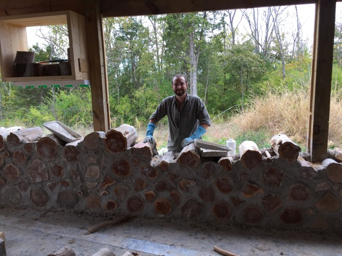 Building a cordwood wall - check out their progress!