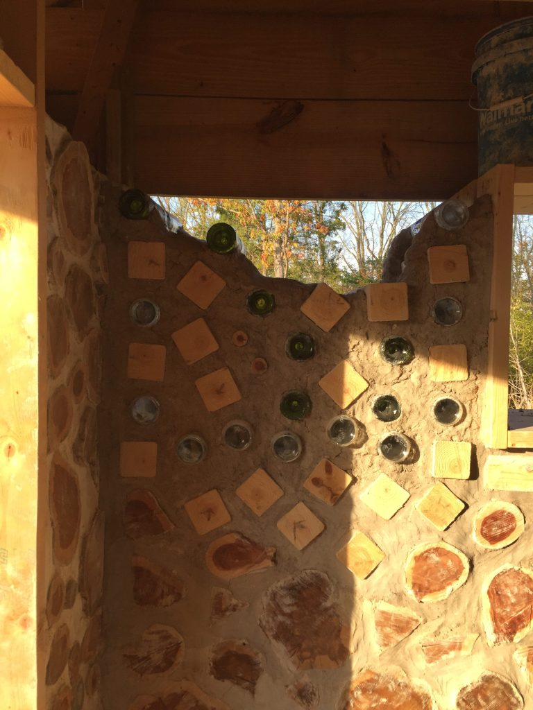 The Big Dipper in an unfinished cordwood wall