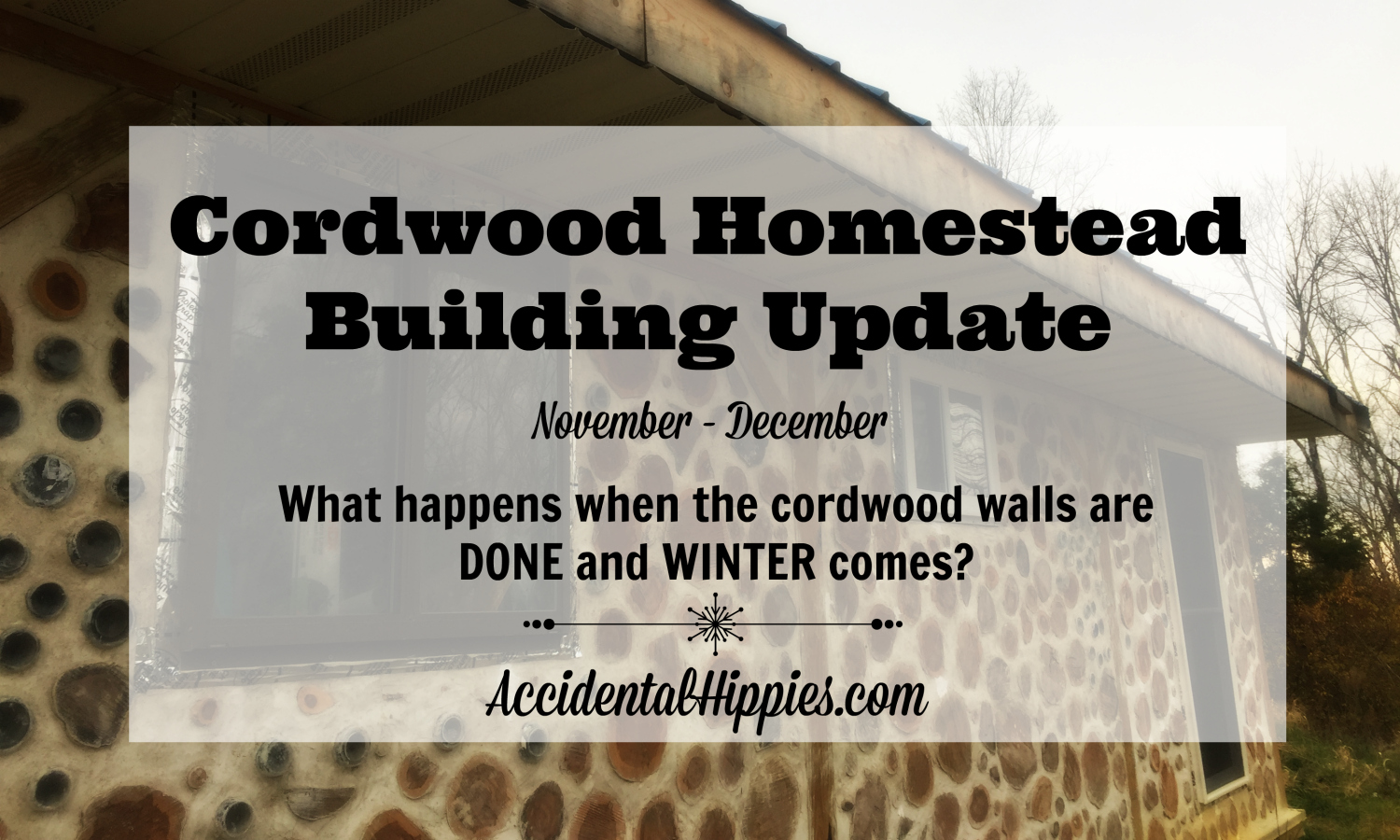 It took us 3 1/2 months to finish our cordwood walls. What are we doing now that they're DONE?