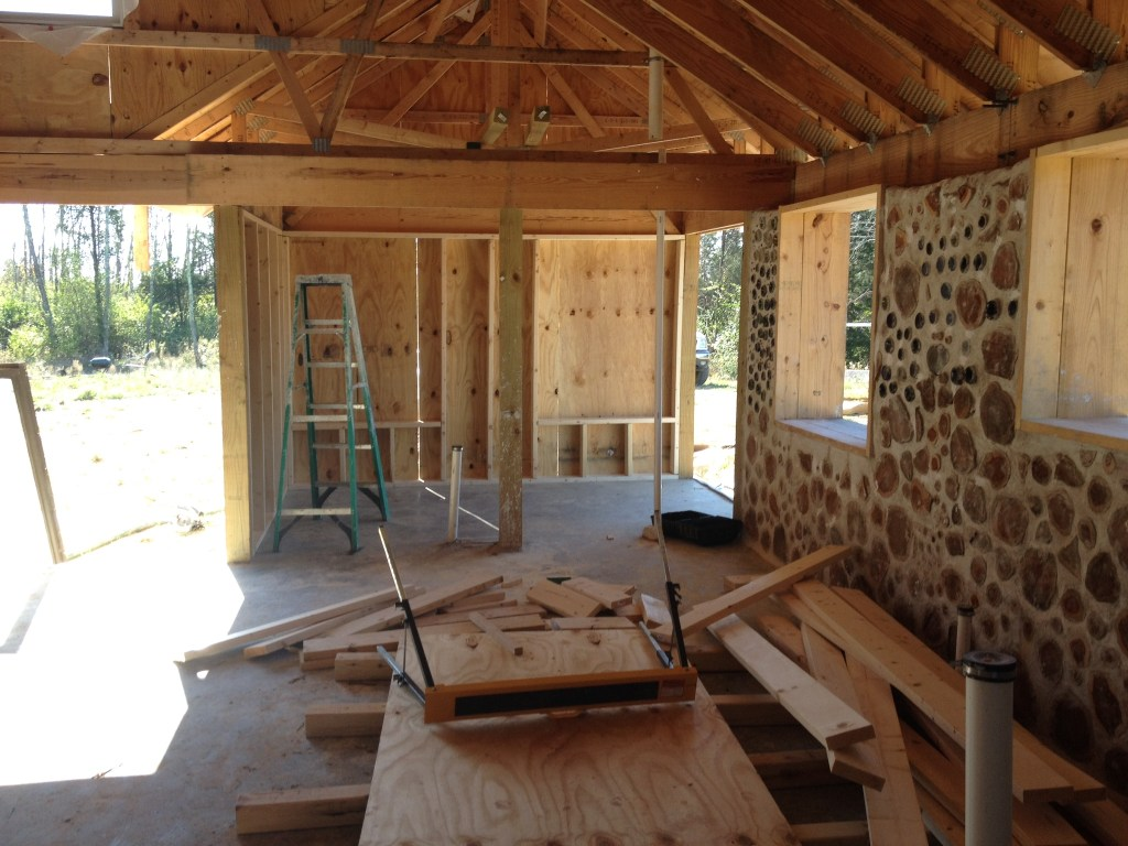 Stud framed wall with sheathing as seen from the inside