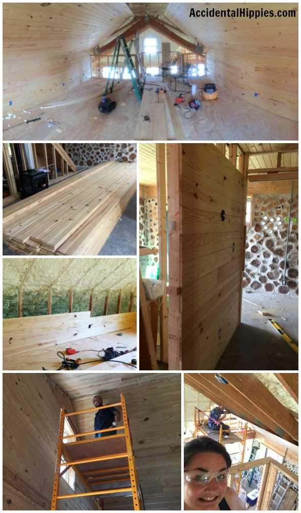 Real tongue and groove white pine planks installed on stud walls. Learn more about our off-grid build!