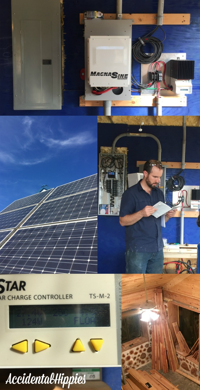 We purchased an off-grid solar kit and installed it ourselves. Check it out in this building progress report.