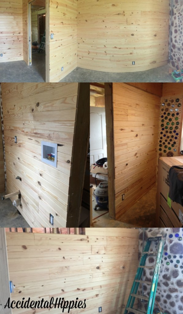 Tongue and groove pine planks are a fast and beautiful way to finish interior walls. Check out our progress with it in this building progress report.