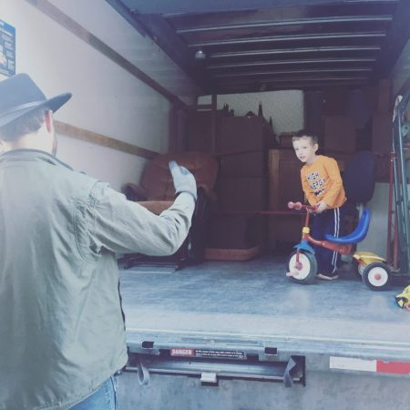 Moving day, finally moving to our cordwood house with our little one