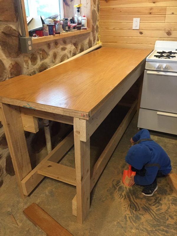 We repurposed this solid core door into a sturdy and affordable countertop. #upcycled #kitchendiy