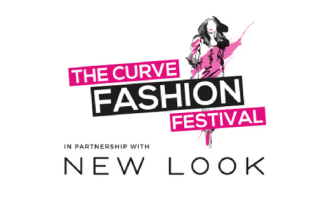 The Curve Fashion Festival logo pink and black text and silhouette of woman on a catwalk in pink and black colours