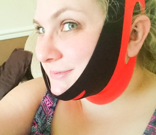 Chin Up Mask Non-Surgical Face Lift Review the mask on my face