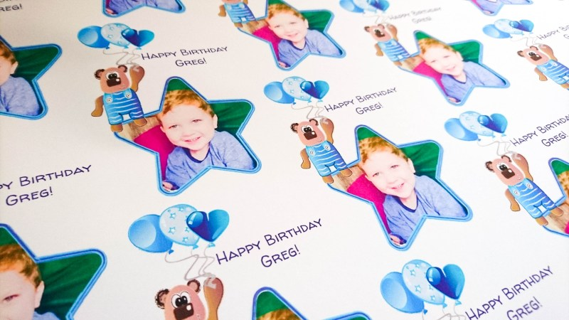 Personalised Birthday Wrapping Paper with Dom and Geri