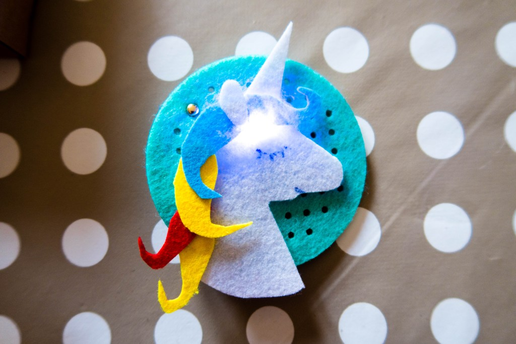 Sew + Glow kit unicorn STEM toy badge maker