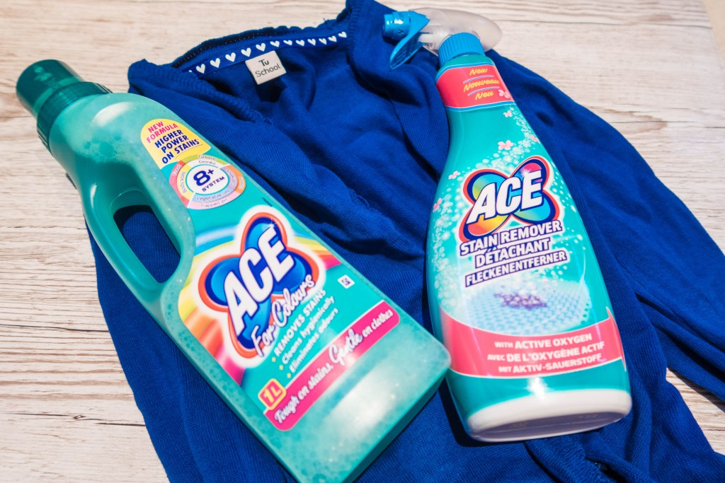 ACE for colours, ACE Stain Remover Spray and blue cardigan