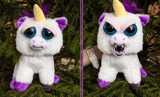 Feisty Pets unicorn with normal face and angry face