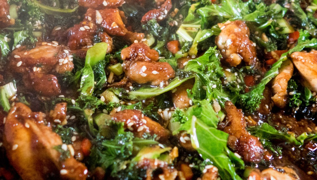 Slimming World Friendly Gousto Box Sticky Chicken with soy and sesame seeds cooking in the pan