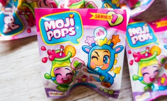 Close up of single Moji Pops packet contain one Moji Pop