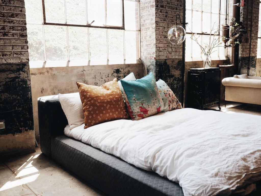 a picture of a comfy looking bed