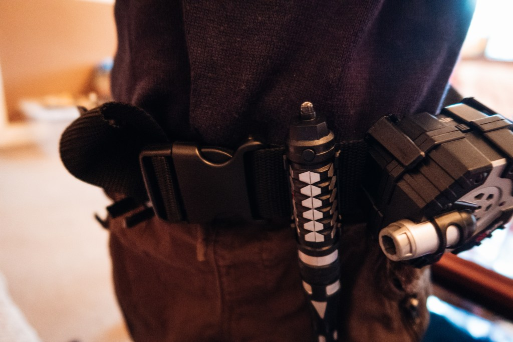 The SpyX Micro Gear kid's spy kit belt and spy gear clipped to the belt