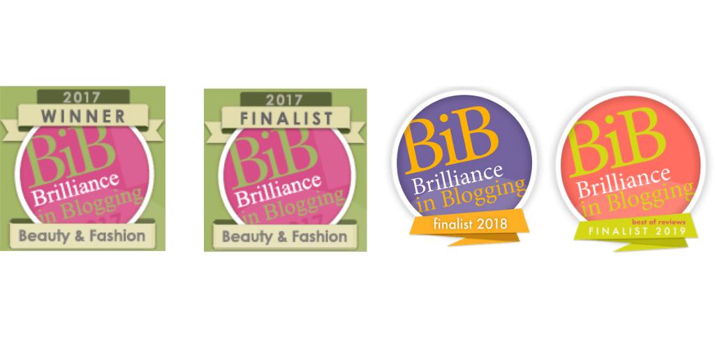 BiBs blogging award logos, finallist 2017, 2018 and 2019, winner 2017