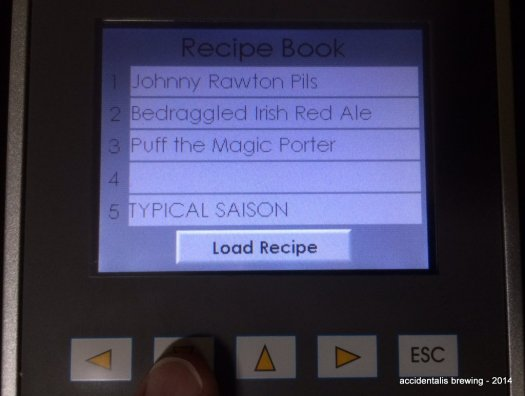 Use the Up and Down arrow to see more pages of Recipe slots