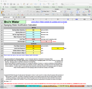 Bru'n Water Free Spreadsheet v 1.17a Sparge Acidification Tab
