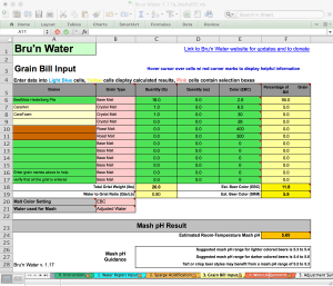 Bru'n Water Free Spreadsheet v 1.17a Grain Bill Input - simple Koelsch