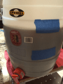 Just over 6 gallons into the fermenter. Tipping up the GF to cover the filter.