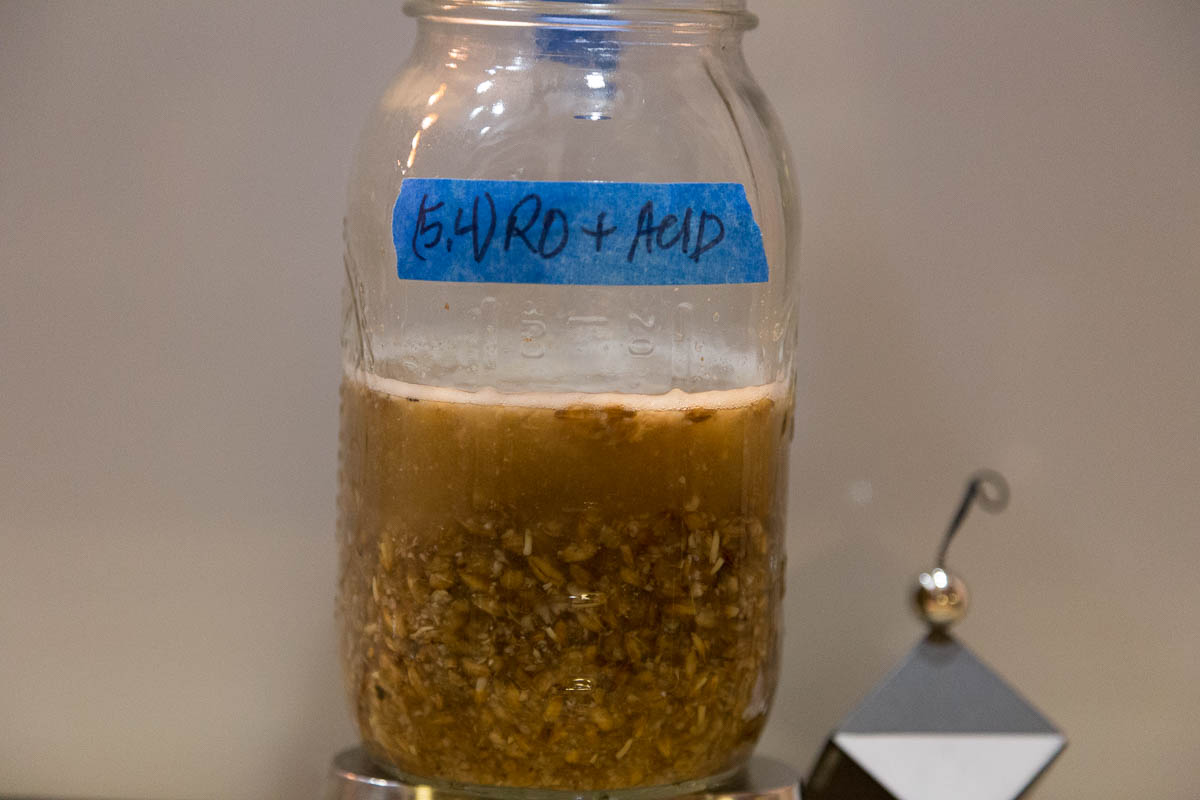 RO mash adjusted to 5.4. Note the fraction of wort.