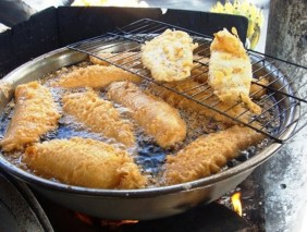 Looks like fish in batter, but is banana in batter.