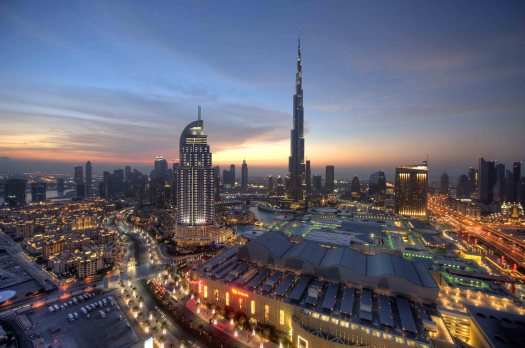 Uae-dubai-tourism-downtown-at-night