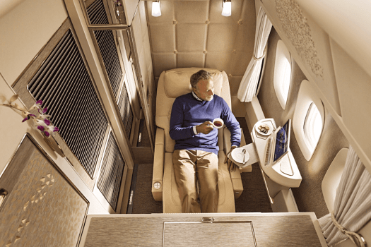 Aviation-emirates-airline-First-Class-seat-in-zero-gravity-position