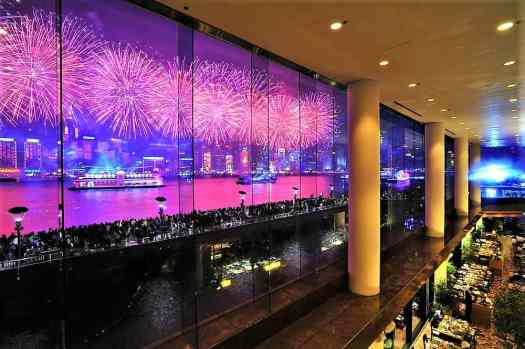 fireworks over victoria harbour as viewed from intercontinental hong kong