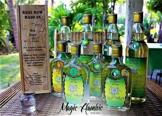 bottles of magic alamic samui rums