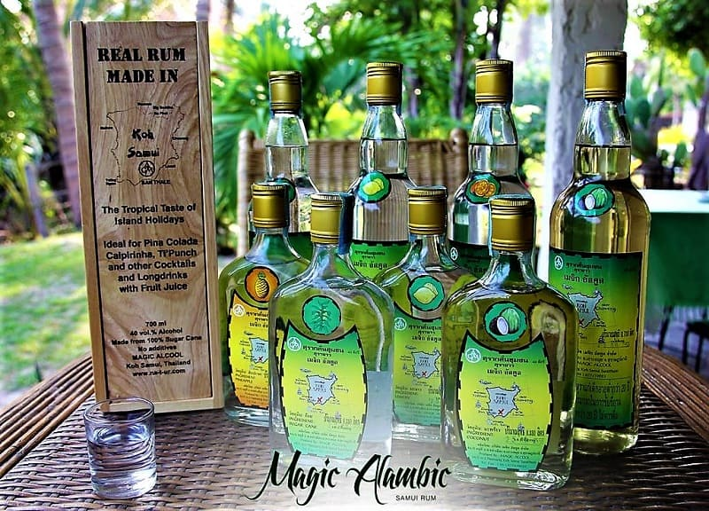 bottles of magic alamic samui rums