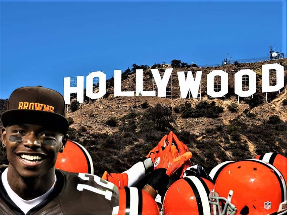 Browns-fan-in-front-of-Hollywood-sign-in-Southern-California