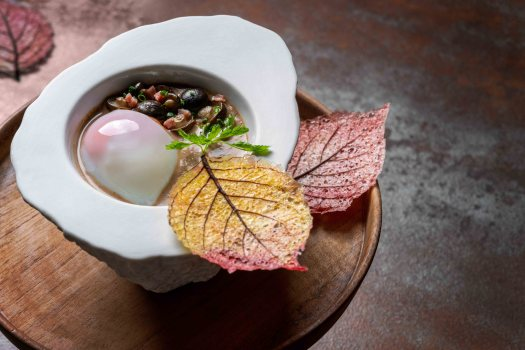 chinese-five-elements-dinner-Poached-egg-with-mushroom