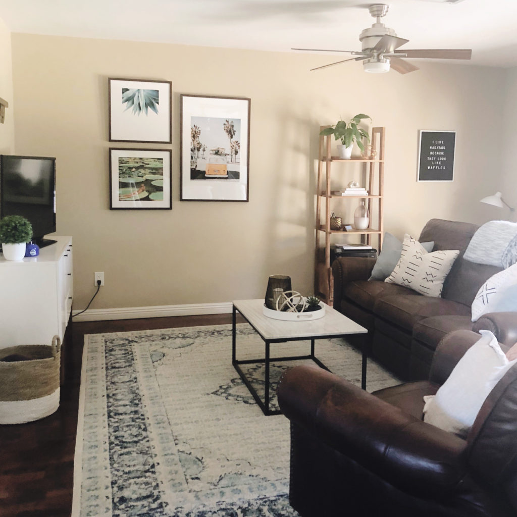 I re-did my living room! I used an online interior design service called Havenly to achieve the perfect look - even when combining my roommates' furniture! Click to see the before and afters!