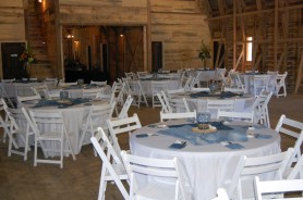 Final - Barn Inside compete with table decor and floral arrangements
