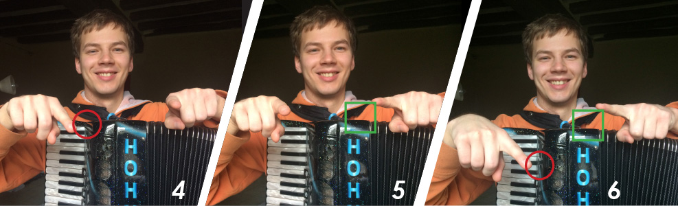 Accordionists draws a circle with the right pointer finger, then a square with the left pointer finger. Attempting both at once? Failure!