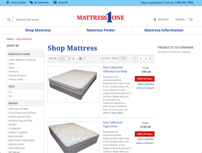 Mattress E Commerce Listing Page