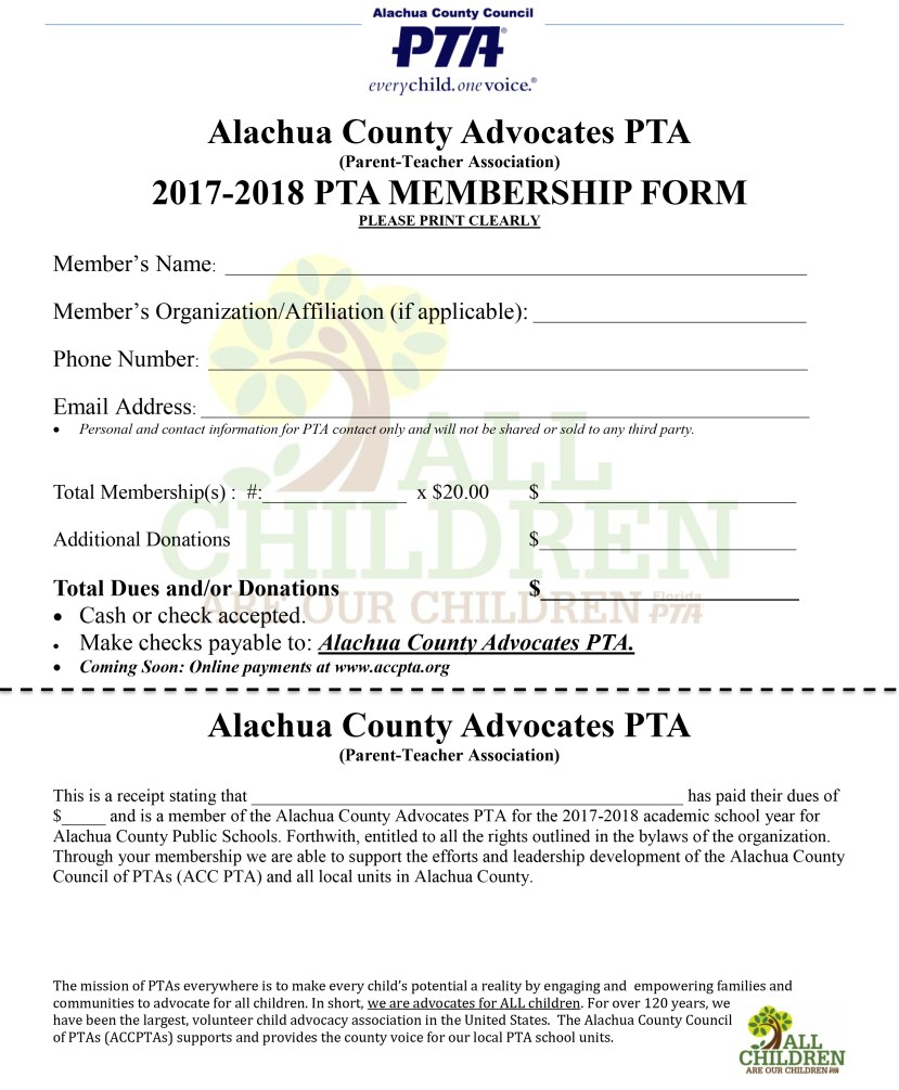 Alachua County Advocates PTA Membership Forum 2017.2018