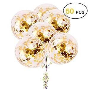 50 Ballons Confettis Or