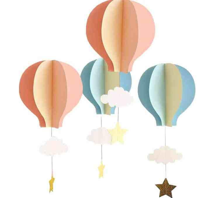 Sur Pinterest 4 pièces maternelle fenêtre suspendus papier 3D Air chaud ballon nuage