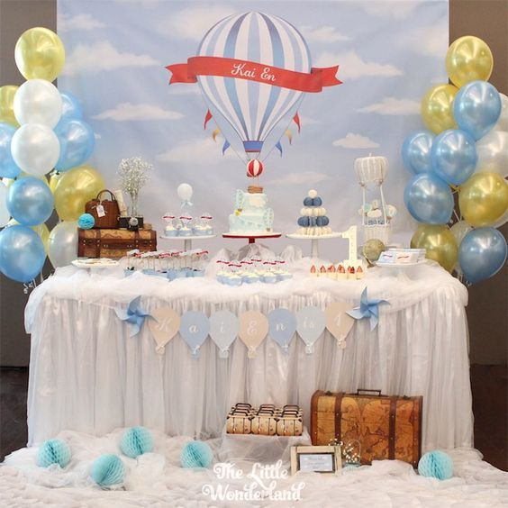 Sur Pinterest Red and Blue Hot Air Balloon Vintage Birthday Party