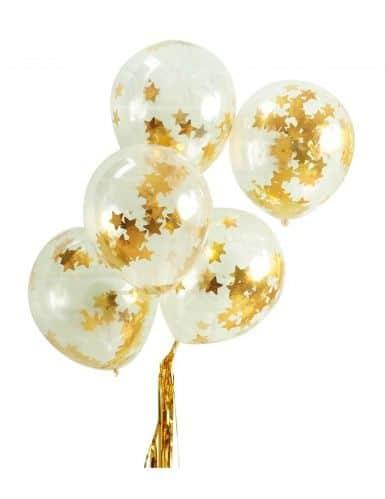 Sur Pinterest 5 Ballons en latex avec étoiles dorées